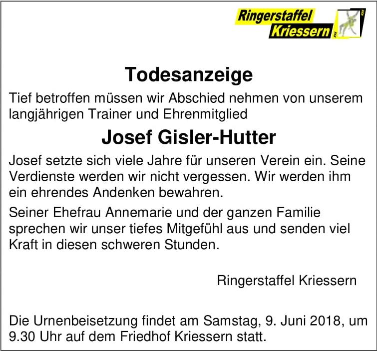 Todesanzeige Josef Gisler